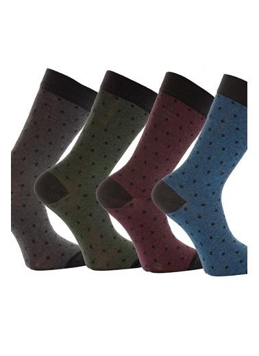 Miorre 4'lü  Desenli Pamuklu Erkek Çorap Renkli
